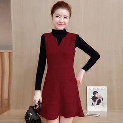 Yumerakka - Set: Mock Neck Sweater + Sleeveless A-line Dress