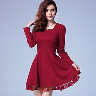Ringnor - Square Neck Lace-Hem Dress