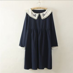 Moricode - Embroidered Collar Long-Sleeve Dress
