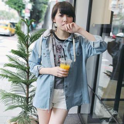 Tokyo Fashion - Hooded Denim Loose-Fit Jacket