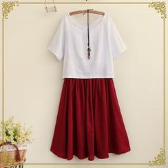 Fairyland - Set: Linen T-Shirt + Pleated Skirt