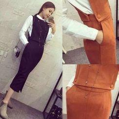 Neon Nite - 套装: 纯色衬衫 + 马甲 + 中长裙