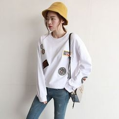NIPONJJUYA - Badge-Patch Cotton Sweatshirt