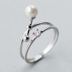 A'ROCH - 925 Sterling Silver Pearl Sterling Silver Layered Open Ring