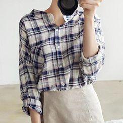 Dowisi - Tab-Sleeve Plaid Shirt
