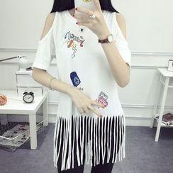 Carabecca - Print Short Sleeve Fringed T-Shirt