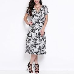 Obel - Short-Sleeve Floral Midi Dress