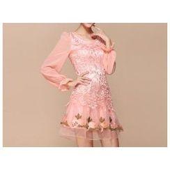 Strawberry Flower - Embroidered Lace Panel Chiffon Dress
