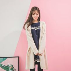 WITH IPUN - Open-Front Slit-Back Long Cardigan