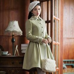 GU ZHI - Set: Paneled Lace-Up Cape + Buttoned Coat