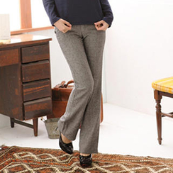 RingBear - 人字纹厚实毛呢小喇叭长裤