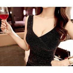 Marlangrouge - Sleeveless Glittered Mini Bodycon Dress