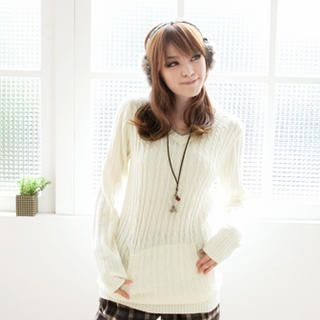 Tokyo Fashion - Contrast-Trim Cable-Knit Sweater