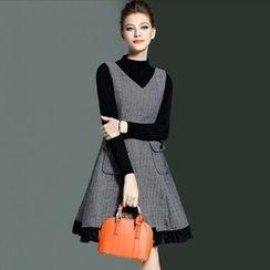 MIUCO - Set: Plain Mock Neck Long Sleeve Knit Top + Fringed Pinafore Dress