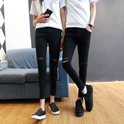 YamYork - Couple Matching Distressed Skinny Jeans