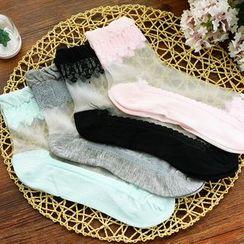 四季美 - 薄紗拼接襪