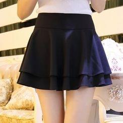 MUSI - 純色搭層裙褲
