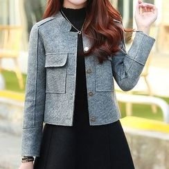 Donnae - 套装: 钮扣夹克 + A字裙