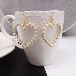 OTOY - Faux Pearl Heart Earrings