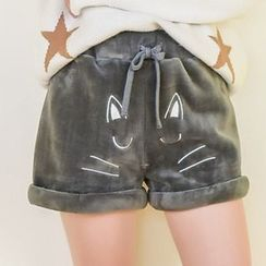 Moriville - Cat Embroidered Drawstring Shorts