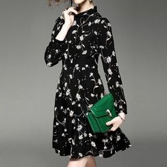 Alaroo - Floral Print Long Sleeve A-Line Dress