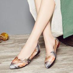 LARKSPUR - Print Genuine Leather Flats