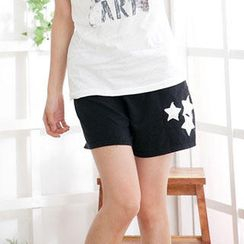 RingBear - 星星骷髅头印字素面棉质短裤