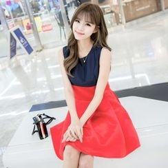 Angel Shine - Color Block A-Line Dress