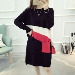 Dream Girl - Color Block Midi Sweater Dress