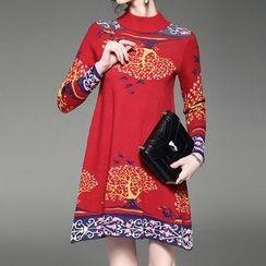 Alaroo - 圖案高領針織連衣裙