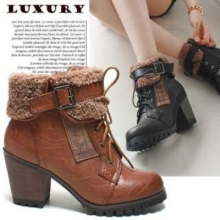 Reneve - Fleece-Lined Ankle Heel Boots
