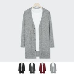 DANGOON - V-Neck Buttoned Mélange Long Cardigan