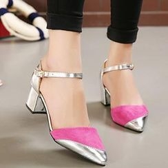 Mancienne - Pointy-Toe Color-Block Chunky Heels
