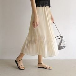 WITH IPUN - Band-Waist Pleated Long Skirt