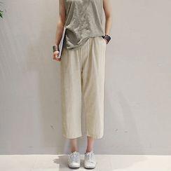 NANING9 - Linen Blend Wide-Leg Pants