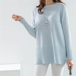 PEPER - Round-Neck Slit-Side Knit Top