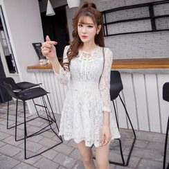 Louise - 3/4-Sleeve A-Line Lace Dress