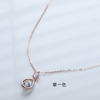 Cuteberry - Rhinestone Water Drop Necklace