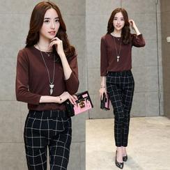 Enjoi - 套裝: 純色七分袖上衣 + 格子褲