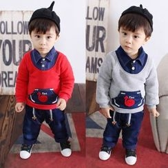POMME - Kids Set: Mock Two-Piece Pullover + Print Jeans