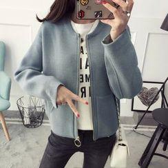 Qimi - Plain Cropped Zip Cardigan