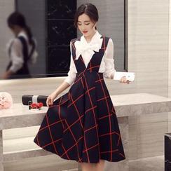 Enjoi - 套裝: 蝴蝶結長袖襯衫 + 格子吊帶連衣裙