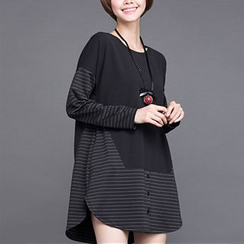 Mythmax - Long-Sleeve Stripe-Panel Top