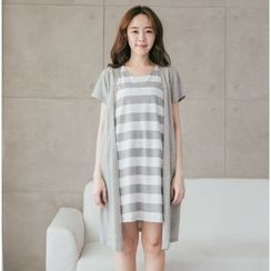 UNIMommy - Maternity Mock Two Piece Striped Short Sleeve Nursing Dress