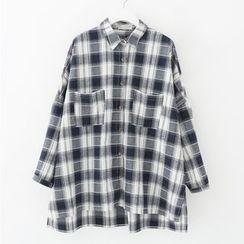 Meimei - 寬鬆格紋襯衫