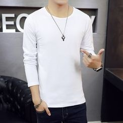 Recluso - Plain Round Neck Long-Sleeve T-shirt