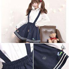 Moriville - Embroidered Woolen Jumper Skirt