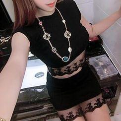 Rocho - Set: Sleeveless Lace Trim Top + Skirt