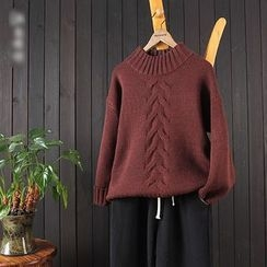 aerokiss - Plain Mock Neck Cable Knit Sweater