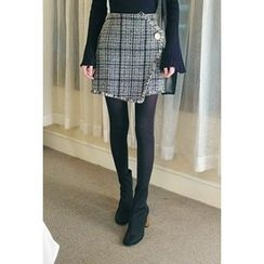 ATTYSTORY - Fringed-Trim Checked Skirt